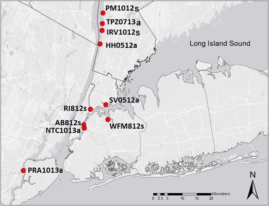 oyster sampling sites